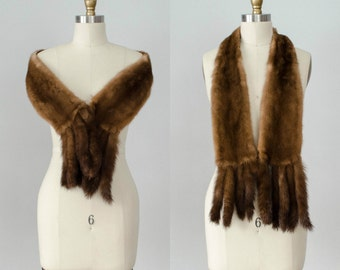 1950s vintage stole / mink fur wrap / brown mink boa