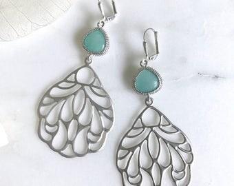 SALE - Aqua Stone and Silver Wing Dangle Earrings