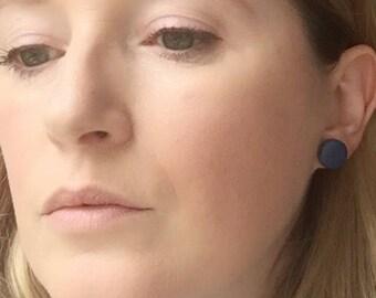 Navy stud earrings, navy blue earrings, clay earrings, blue clay earrings, quirky earrings, blue stud earrings, giant stud earrings