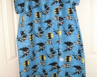 Batman on blue cotton hospital gown