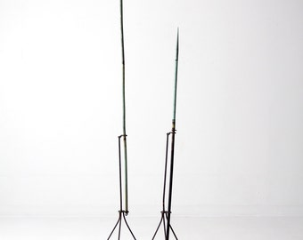 antique American lightning rods, pair copper verdigris lightning rods