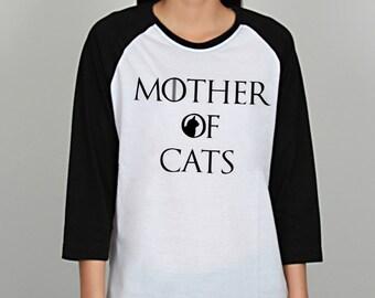 Mother of Cats - Cat Lover - Cat Mom - Animal Shirt - Funny Shirt - Birthday Gift - Ladies, Men, Women, Teen, Unisex Baseball T-Shirt-BSUB82