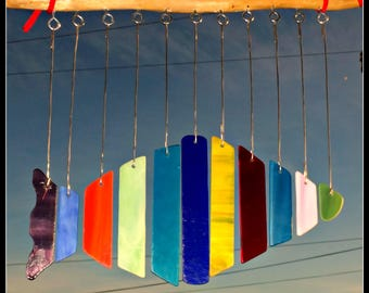 Stained glass wind chime,   fish wind chime,  colorful fish,  hanging glass fish,  stained glass art, fish mobile, patio chime, garden decor