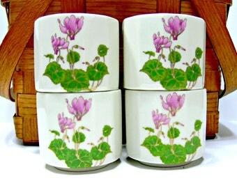 Vintage Otagiri Cyclamen Pattern Ceramic Tea Cups - Multi 12 Sided - Set of 4 - Japan