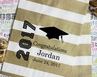 50 Personalized Graduation Party Favor Bags, Candy Bags, Popcorn Bags, Cookie Bags, Graduation Favor Bags with Name and Date