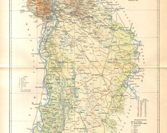 1896 Original Antique Dated Map of Pest-Pilis-Solt-Kiskun County, Austro-Hungarian Empire