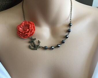 SALE Tangerine Orange Flower Necklace In Antique Brass,Statement Necklace,Sea Inspired Necklace,Flower Jewelry,Bead Necklace,Ocean Necklace