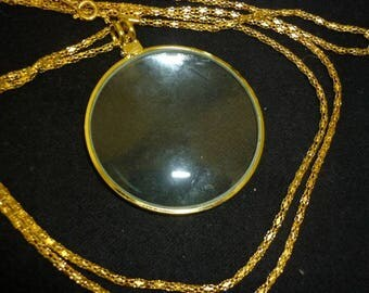 Gold Magnifying Pendant Necklace,Magnifier Necklace Pendant
