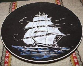 "Vintage Large AWF Arnold Wiigs Fabrikker Enamel Plate Tall Ship Sailboat Norway signed ""AWF Skute"" Stamped and Signed"