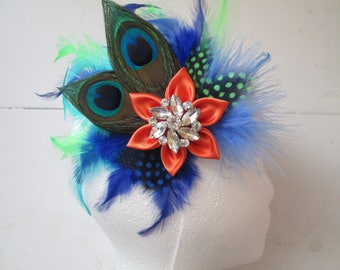 PEACOCK Wedding Fascinator, Orange & Royal Blue Feather Head Piece, Bridal Hair Flower, Birdcage Veil, Something Blue, Kentucky Derby