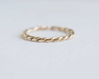 Golden Twist Ring | 14k Recycled Gold | Twist Stacking Ring