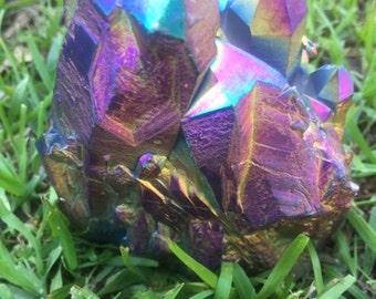 TITANIUM QUARTZ CRYSTAL, spirit quartz, aqua aura, rainbow titanium crystal, minerals, healing crystals
