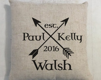 Arrows and Heart Wedding Ring Heart Custom Last Name Linen Style Pillow Wedding or Anniversary Gift