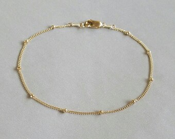 Delicate Gold Bracelet, Dainty Chain Bracelet, Dainty Gold Anklet, Thin Gold Chain, Layering Bracelet, Delicate Bead Chain Bracelet