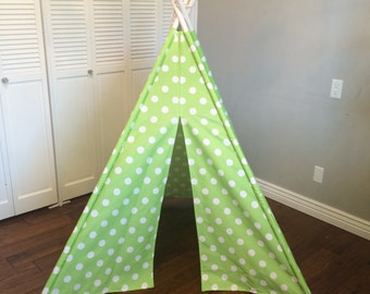 Green, Lime, and White Polka Dot, Play Teepee, Tee Pee, Tent (poles included)