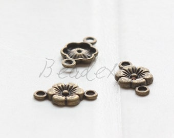 40 Pieces / Flower / Link / Antique Brass / Base Metal (Y5093//C618)