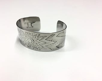 "Sunshine Cuff - Etched Stainless Steel - 1"" wide"