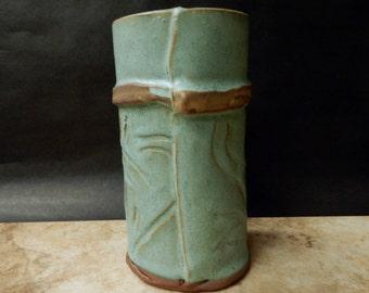 Turquoise Stoneware pottery slab vase,organic...rustic..primitive ..earthy..*