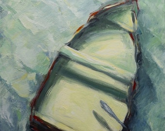 Original Painting - Large Painting - Boat - Dingy - Rowboat - Acrylic Painting - Ocean - Water - Boat Under Water - 18 x 24 - Fish Painting