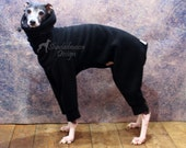ONE Only - Italian Greyhound LARGE standard Black Jammies with Grey and Black Bear Print  jersey lined Snood/Neck Warmer