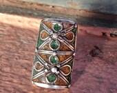 RESERVED Silver Enamel Old Berber Ring from S Morocco, US size: 8 (inner diameter 1.8 cm)