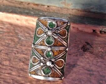 Silver Enamel Old Berber Ring from S Morocco, US size: 8 (inner diameter 1.8 cm)