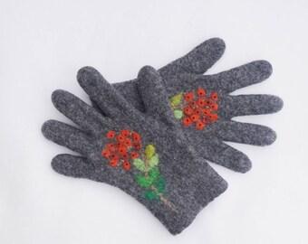 Felted Gloves Merino Wool Gray Rowans