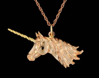 14k Rose Gold Unicorn with a 14k Yellow Gold Horn Pendant or Necklace (Optional Chain)