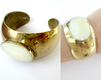 Brass Cuff Bracelet Mother of Pearl Center Stone Vintage 1970s Boho Chic