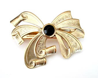 Gold Repousse Bow Ribbon Barrette Beveled Black Glass Accent Made in France // Vintage 1980s Hair Accessory