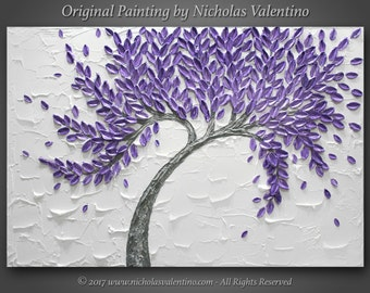 "Large 36""x24""x1.5"" Original Textured Impasto Abstract Painting on Gallery Canvas Purple Blossom Tree Wall Art Palette Knife - FREE SHIPPING!"