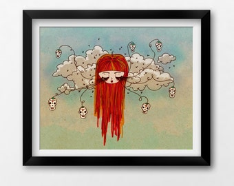 Wall Art Printable, Day of the Dead Art, Instant Download Illustration by Sleepy Cloud Studios