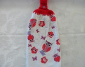 Hanging Double Kitchen Owl Valentine's Day Towel Valentine Towel Owl and Butterfly Valentine Hanging Towel Crochet Hanging Kitchen Towel