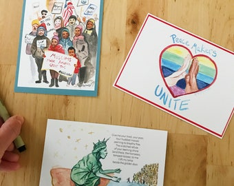 Set of 3 political postcards, write your representatives, postcard party, Ready to Ship