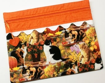 Autumn Kitty Cat Cross Stitch Embroidery Project Bag