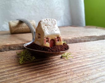 Volets Rouges, miniature French cottage red shutters, miniature house, tiny house, miniature cottage bungalow, yellow ceramic clay house