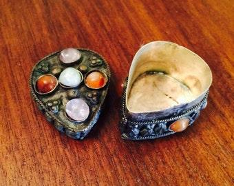 Vintage Pill Trinket Snuff Box Metal Silver Jeweled Antique