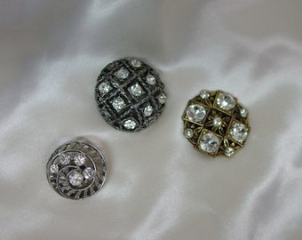 "3 Vintage Buttons with Glitz, Rhinestones Great Designs 3/4"" to 1"""