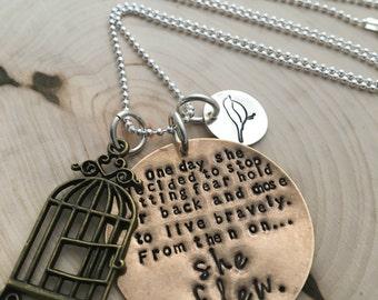 Hand Stamped Necklace ~ Bird Necklace ~ She Flew Necklace ~ Bird Cage ~ Bird Jewelry ~ JessicaBe ~ Inspirational Jewelry ~ Motivation