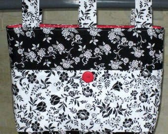 Adult Woman Walker Bag Tote Caddy Purse – Black & White Floral Bag, White and Black Floral Pockets 3 Straps, Red, White Lining, Red Button