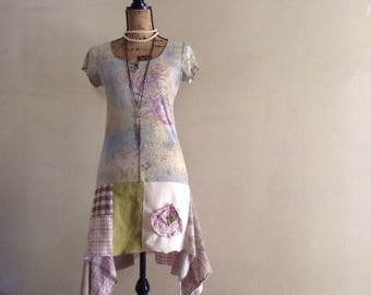 Shabby chic tunic, upcycled top, lafluer bohemian tunic, small flower tunic, Andrea Durham Design, repurposed Altered couture, eco couture