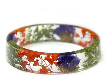 Jewelry with Real Flowers- Dried Flowers- Orange Bracelet- Dried Flowers- Orange Bracelet -Purple Flowers-Resin Jewelry