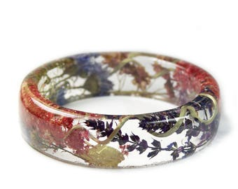 Flower Bracelet -Flower Jewelry- Real Flower Bangle- Real Flower Resin Jewelry - Jewelry made with Flowers