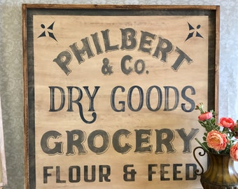 Fixer Upper Inspired Philbert and Co. Dry goods, grocery flour and feed - Extra Large 36x36