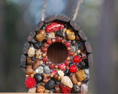 Wren Bird house with ladybugs and red Accents Sun Kissed red Mosaic garden art lady bug garden decor mosaic birdhouse with stones