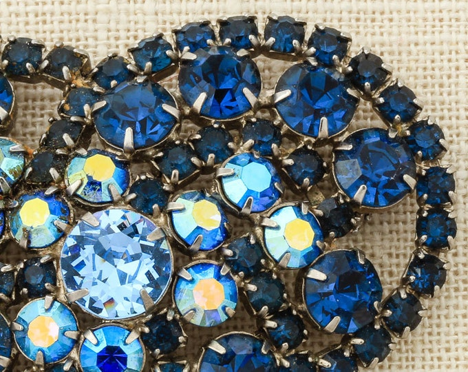 Vintage Blue Brooch Crystal Pin | Navy Blue Iridescent AB Abstract Huge Broach 1950s Jewelry | Vtg Pin 16D