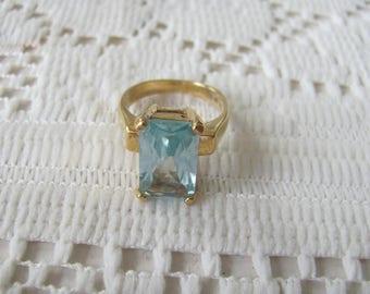 Sterling Aquamarine Glass Ring Emerald Cut Stone Statem Ring Size 8