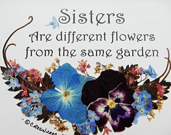 Sister Gift.  Sister Verse.  Pressed Flowers.  Pansy picture. Quality Reproduction 5 x 7.  Family Gift.