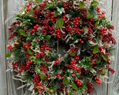 Christmas Wreath , Winter Wreath ,Holiday Christmas Wreath , Winter Wreaths , Holiday Door Wreath , Early Black Friday Sale