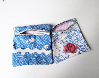 Zippered Pouches - Set of 2 - Handmade Pouch - Vintage Fabric Pouch - Zippered Catch All - Makeup Case - FREE SHIPPING in US